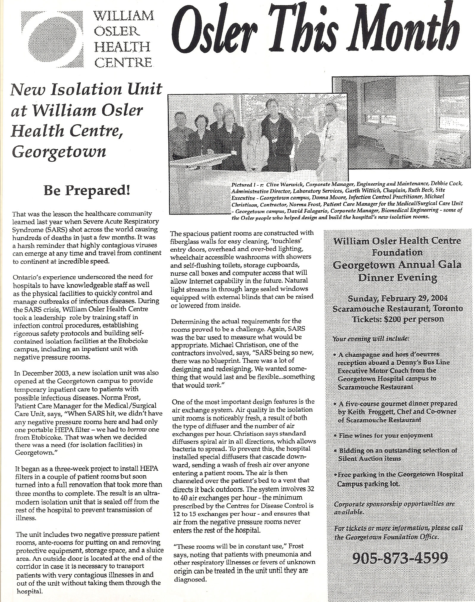 Osler This Month news Article. New Isolation Unit at William Osler Health Care Unit, Georgetown.